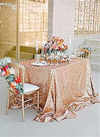 50u0026quot;x80u0026quot; Rose Gold Sequin Fabric Tablecloth Sequin Panels Party  Baby Shower Reception Tablecloth
