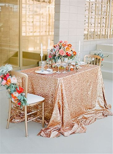 50inx80in Rose Gold Sequin Fabric Tablecloth Sequin Panels Party Baby Shower Reception Tablecloth