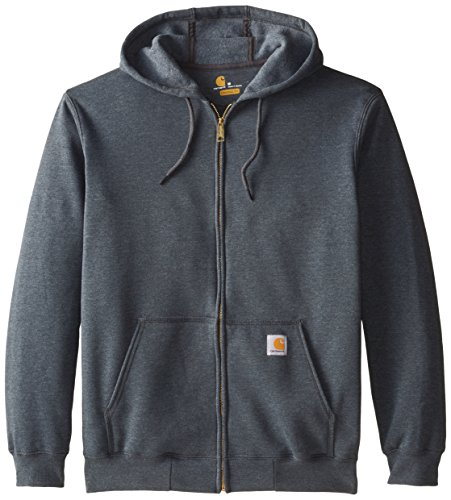 Carhartt Men's Midweight Sweatshirt Hooded Zip Front Original Fit K122,Charcoal Heather,Large Carhartt Midweight Logo Hooded Pullover
