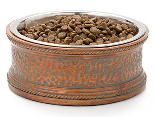 Pet Junkie Madison Designer Pet Bowl, Unique Feeder for Dogs and Cats. Copper Colored with Impressed Pattern, Stainless Steel Dishwasher Safe Inner Bowl for Easy Cleaning - Large, 44oz (5 1/2 cups)