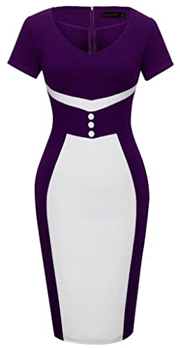 HOMEYEE Women's Elegant Business Purple Casual Cocktail Bodycon Dress B321