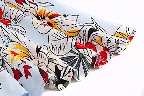 Flor Cap Vestido FAIRY Baile Azul DRT019 COUPLE Vintage Mangas de Lunares Rockabilly 1950S qwXPgwO