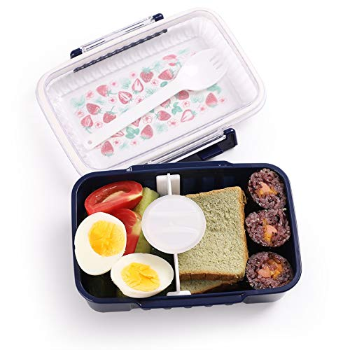 Lady Salad Fork - Bento Box for Kids & Adults Bento Lunch Box for Men Women Salad Container with Fork Small Protein Packer On The Go Snack Box 2 Compartment Portion Control Food Container Sandwich Meal Prep Leak Proof