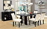 7 pc Luminar I collection contemporary style espresso finish wood dining table set with Center Led frosted glass light strip