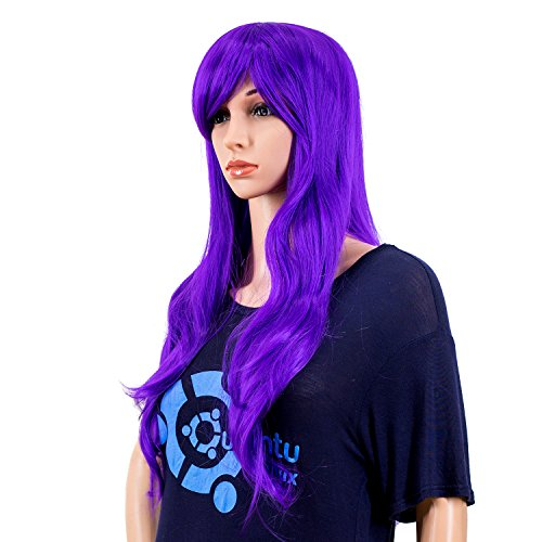 SWACC 26-Inch Long Curly Wave Cosplay Synthetic Wig Colored Hair Piece for Women with Wig Cap (Purple) -