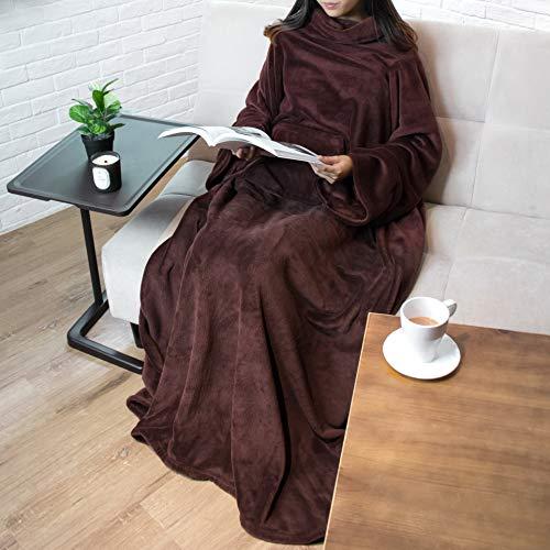 PAVILIA Premium Fleece Blanket with Sleeves for Adult, Women, Men | Warm, Cozy, Extra Soft, Microplush, Functional, Lightweight Wearable Throw (Brown, Kangaroo Pocket)