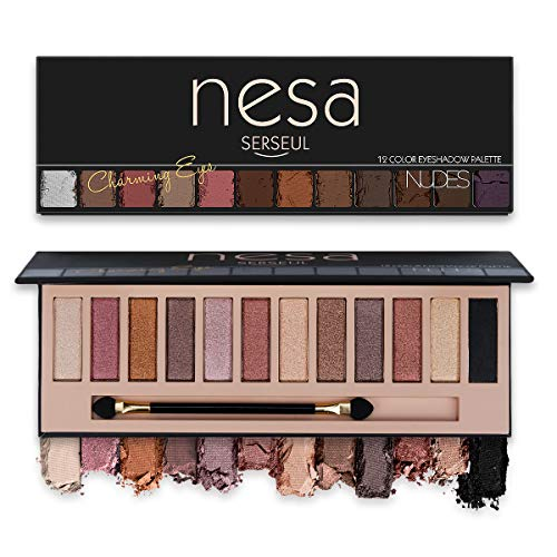 Serseul Matte and Shimmer Eyeshadow Palette 12 Color Highly Pigmented Eye Makeup Creamy Texture Blendable Long Lasting Cruelty Free Nude B