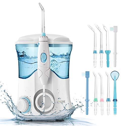 (Cozzine Water Dental Flosser 600ml, Large Water Capacity Leak-Proof Electric Quiet Design with 9 Multifunctional Tips Countertop Dental Oral Irrigator for Home & Travel )