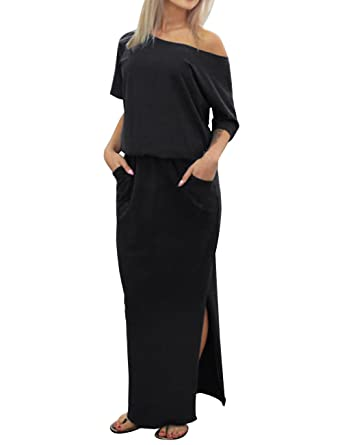 6393f8c53f ISASSY Women's Summer Boho Split Long Maxi Dress One Shoulder Beach Wear  Evening Party Casual Dresses