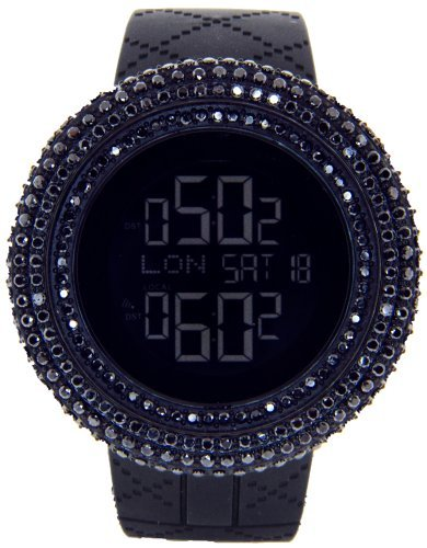 Diamond Watch King Master (King Master Men's KM-SL Aqua Master Jojino LED Display Quartz Battery Operated Black Matte Resin Watch)