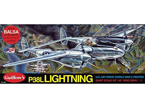Guillow's Lockheed P-38 Lightning Model Kit (P-38 Lightning Fighter)