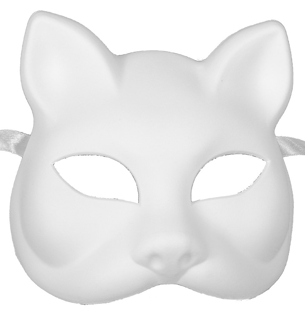 RedSkyTrader Mens Plastic Cat Arts and Craft Mask One Size Fits Most White