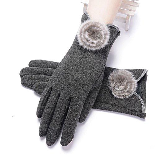 手袋 レディース グローブ 無地 5本指 フェイクファー付 暖かい 裏起毛 おしゃれ かわいい もこもこ 上品 お出かけ パーティー フリーサイズ Monissy