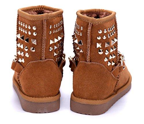 Schuhtempel24 Damen Schuhe Winterstiefeletten Stiefel Boots Flach Nieten/Zierkette/Emu Camel