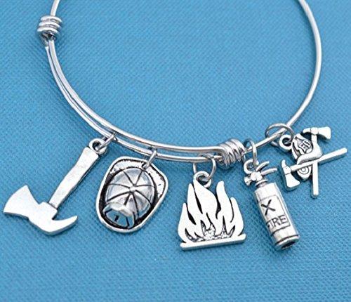 Firefighter bangle bracelet in stainless steel. Gift for firefighter. Gift for firefighters wife. Gift for firefighters girlfriend. (Steel Fighter)