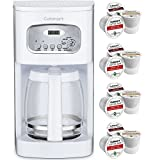Cuisinart Brew Central 12-Cup Programmable Coffeemaker White (DCC-1100) with Coffee Bar K Cup Single Serve 12 Capsules