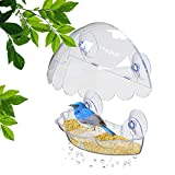 Window Bird Feeder, See Through Bird House, Easy Removable Tray 4 Heavy Duty Suction Cups Drain Holes Watch Birds Up Close by Your Window Fun Gift for Kids & Bird Lovers