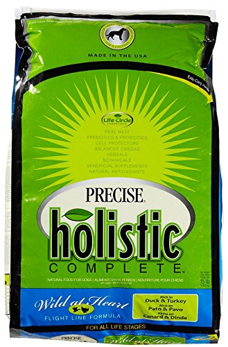 Precise Holistic Complete, Wild at Heart Formula, Duck and Turkey Food for Dogs, 15 pound bag