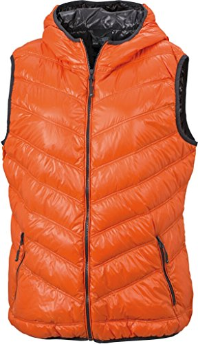 JAMES & NICHOLSON Ultra light down vest with hood in casual style Dark-orange/Carbon