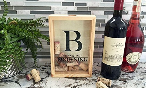 Qualtry Personalized Wedding Gifts, Rustic Wedding Gift for The Groom and for Her - Wall Mounted Monogram Wine Cork Shadow Box Holder Display (9'' x 6'', Browning Design) by Qualtry