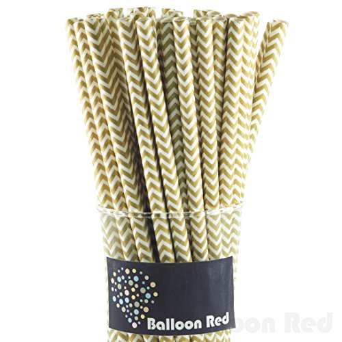 [Biodegradable Paper Drinking Straws (Premium Quality), Pack of 50, Chervon - Gold] (Homemade Kids Halloween Costumes Unique)