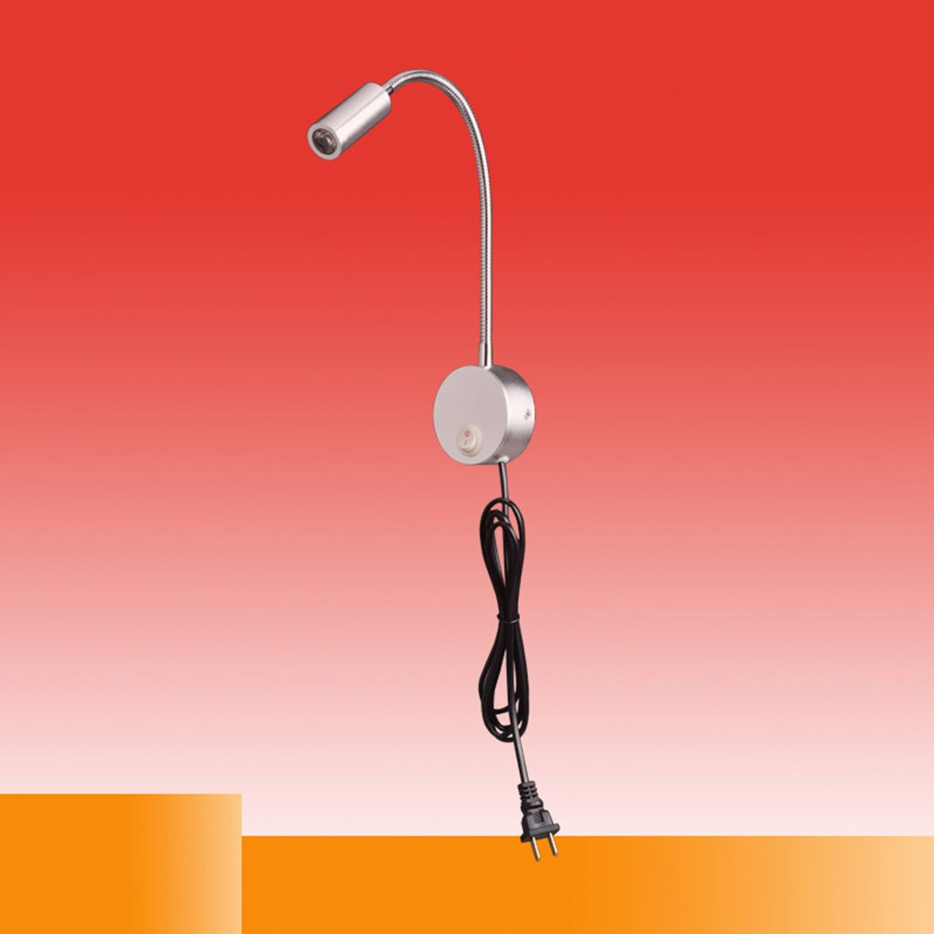 LED Hose Spotlights With Switch Plugs Aluminum Wall Light Hotel Bedroom Bedside Reading Light