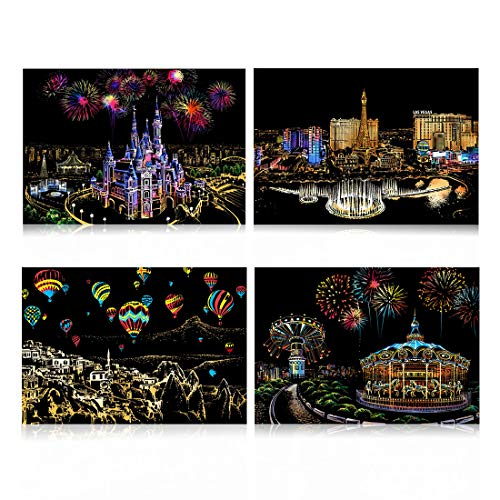 Scratch Paper Rainbow Painting Sketch Pads DIY Art Craft Night View Scratchboard for Adults and Kids - 4 Packs, 16 X 11.2 Inches