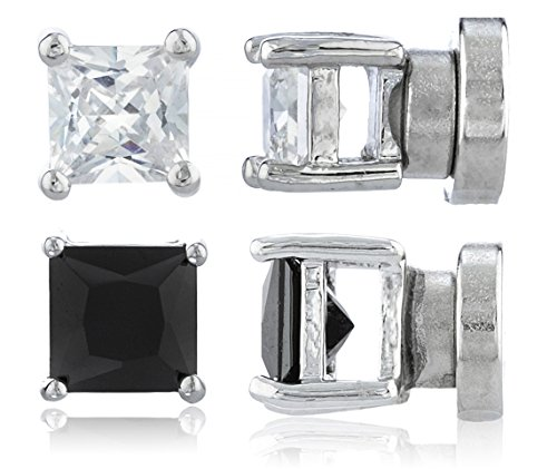 2 Pack Magnetic Stud Earrings 4mm Square Studs Silvertone Magnet Back Set (E-1503 + E-1512)