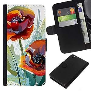 Planetar® Modelo colorido cuero carpeta tirón caso cubierta piel Holster Funda protección Para HTC DESIRE 816 ( Poppy Flower Spring Nature Watercolor )
