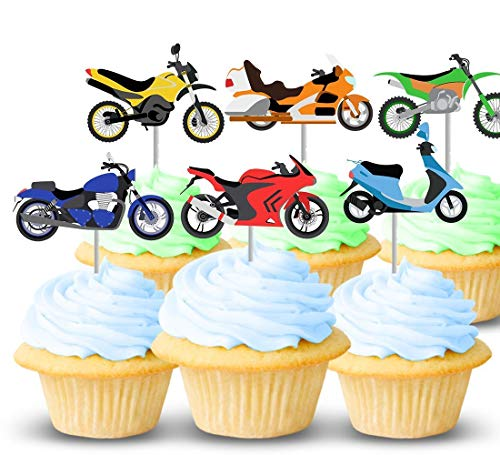 Motorcycle party cupcake topper picks 12 ct - Kids birthday supplies, decorations - Card-stock toppers for cake decor - Handmade in the USA -