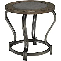 T739-6 Volanta Round End Table with Distressed Detailing and Metallic Top in Caramel Brown