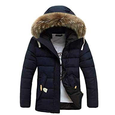 Yvelands Hombres Invierno Manga Larga con Capucha Bolsillo Engrosamiento Abrigo Outwear Top Blusa(Navy,
