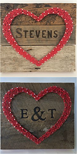 Large custom red reclaimed wooden heart sign with branded initials or name. A special and unique gift for weddings, 5 Year Anniversary gifts, new homes and more. Two day shipping for $11.19! (Custom Gifts And More compare prices)