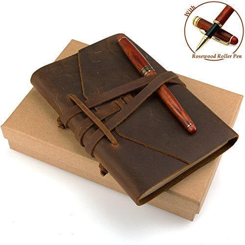 ADVcer 5x7 Oil Tanned Genuine Leather Travelers Notebook, Vintage Bullet Journal Diary and Rosewood Ballpoint Sign Pen, Handmade Gift Set, Refillable Blank Unlined Kraft Inserts (Leather Bound, Brown)