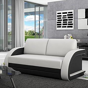Schlafcouch Ausziehbar schlafsofa 120 cm aus kunstleder weiß schwarz runde lehnen
