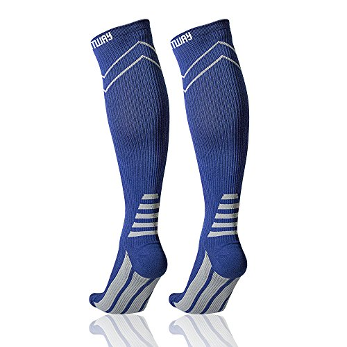 Sports Compression Socks Calf Support – Comway Knee High Athletic Socks for Men Women, Fit Running Flight Travel Nurses Boost Performance Blood Circulation & Recovery (L, (Injured Man Costume)