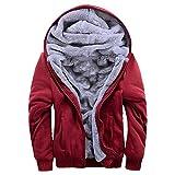 ASALI Men's Pullover Winter Jackets Hooed Fleece Hoodies Wool Warm Thick Coats Red 2XL
