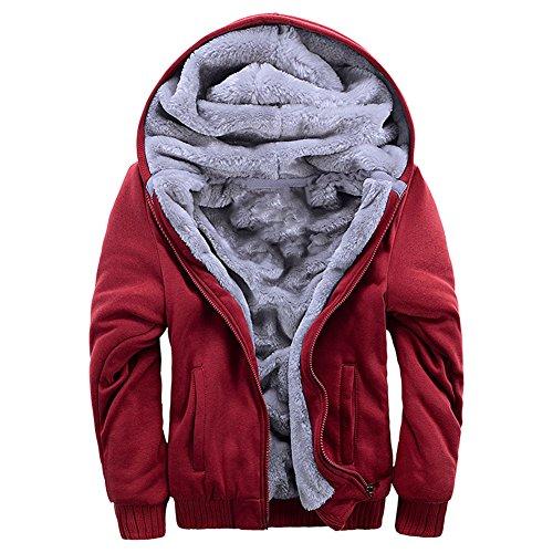 ASALI Men's Pullover Winter Jackets Hooed Fleece Hoodies Wool Warm Thick Coats Red 2XL by ASALI