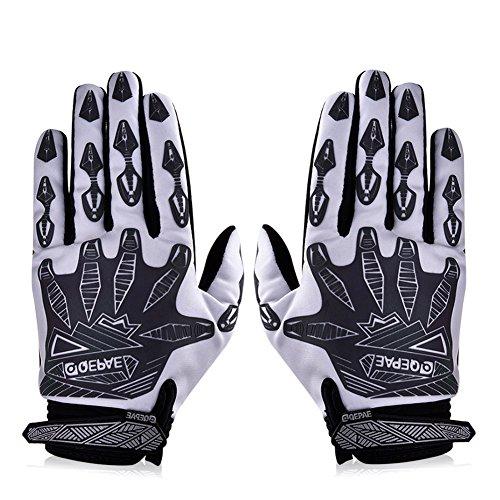 Vbiger Men's Outdoor Full Finger Light-reflecting Cycling Climbing Sport Gloves (White, M)
