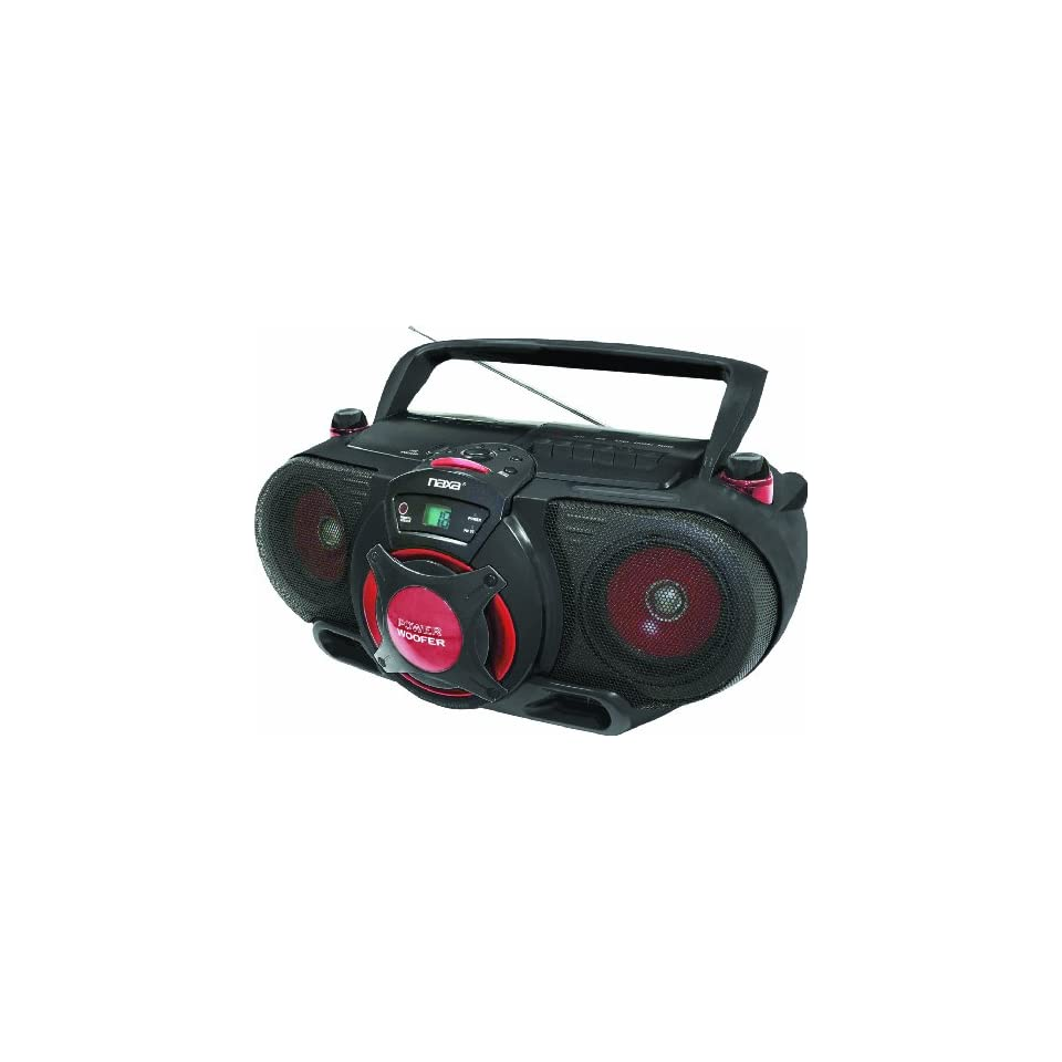Naxa NPB 259 Portable /CD AM/FM Stereo Radio Cassette Player/Recorder with Subwoofer and USB Input