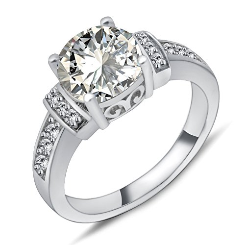 Rongxing Jewelry Silver Cubic Zirconia Women's White Gold Filled Size 10 Wedding ()