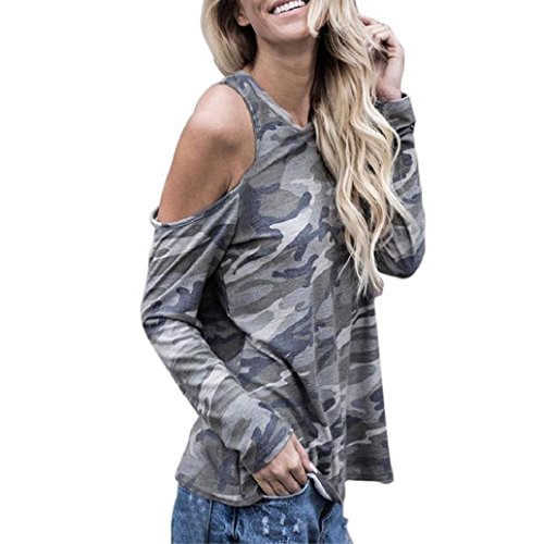 2017 Hot Shirt! AMA(TM) AMA(TM) Women Sexy Off Shoulder Camouflage Long Sleeve T-shirt Blouse Tops (XL, Camouflage)