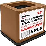 iPrimio Bed Furniture Square Risers - Brown 4 Pack 3.5 INCH Size - Wont Crack & Scratch Floors - Heavy Duty Rubber Bottom - Patent Pending - Great Wood Carpet Surface