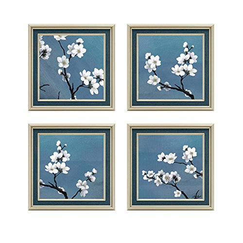 - Dzhan Home Decorations Wall Art Canvas Prints The Apricot Flower Framed Oil paintings on Stretched and Modern Abstract Paintings for Living Room Wall Decor 4 Pieces 16.7x16.7 Inch