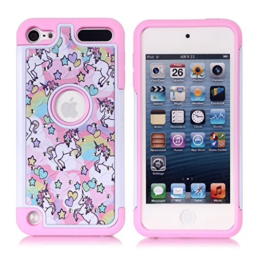 Case Rubber Generation Crystal (Apple iPod Touch 6th Case, iPod 5th Generation Case, Rainbow Unicorn Pattern Shockproof Studded Rhinestone Crystal Bling Hybrid Case Silicone Protective Armor for Apple iPod Touch 5 6th Generation)