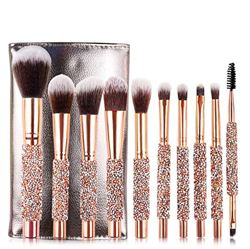 (Luxury Makeup Brushes Set 10pcs Diamond Studded Handle Design Crystal Makeup Brush for Face and Eyes Make up Brush Professional Foundation Concealer Eyeshadow Cosmetic Tools)