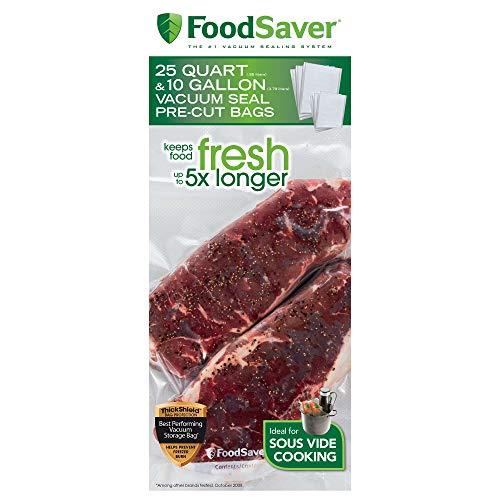 FoodSaver FBSQ25G10-NP Pre-Cut Vacuum Seal Bags Combo Pack for Food Preservation & Sous Vide Cooking, 25 Quart-Size & 10 Gallon-Size Bags