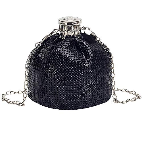 Felice Women Small Vintage Exquisite Evening Bag Shining Metallic Clutch Tote Mini Bucket Bag