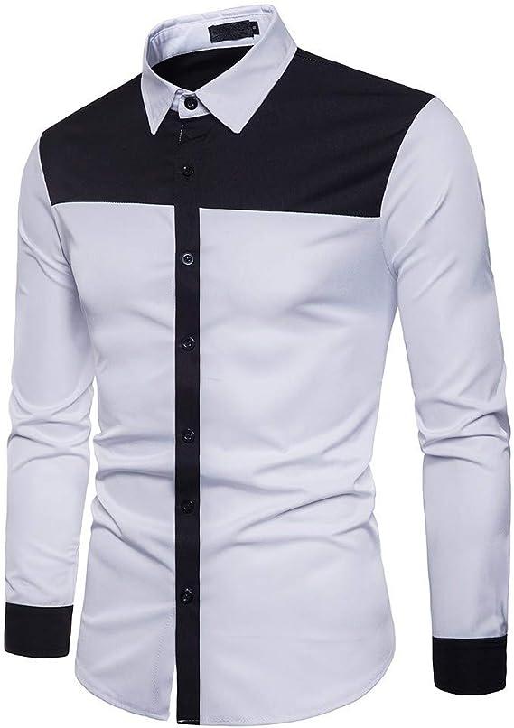 Overdose T Shirt Hombre Negras Manga Larga Diseño Popular Labor de Retazos Camisas Hombre Informal Ropa de Día: Amazon.es: Ropa y accesorios
