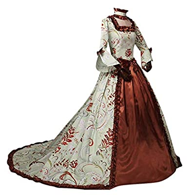 Excursion Clothing Womens Medieval Costume Dress Renaissance Lace Up Victorian Irish Cosplay Retro Floral Gown Floor Length Long Dress